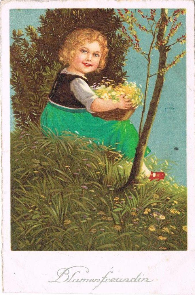 Alte Postkarten: Blumenfreundin