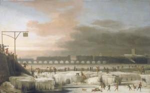 Frostjahrmärkte auf der Themse: Bild von 1677